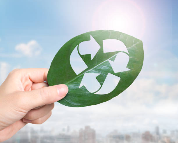 Hand holding leaf with hole of recycling symbol, resource recovery stock photo
