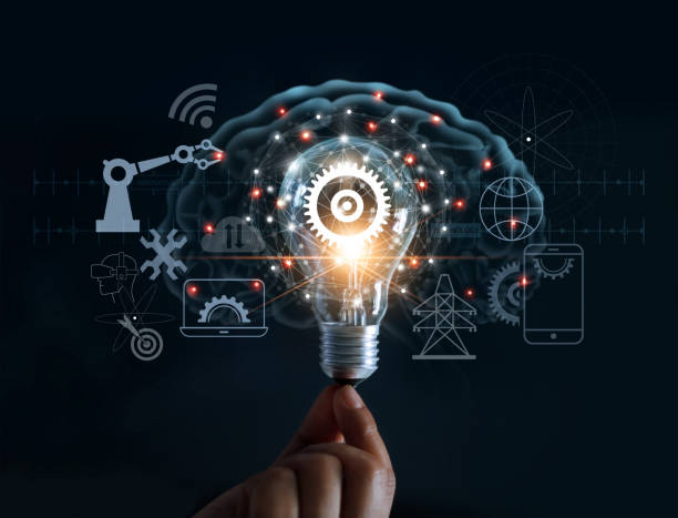 hand holding light bulb and cog inside and innovation icon network connection on brain background, innovative technology in science and industrial concept - active brain imagens e fotografias de stock