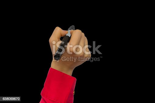 649719220 istock photo Hand holding marker isolated on black 638069670