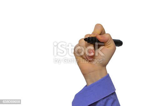 649719220 istock photo Hand holding marker isolated on white 638069658