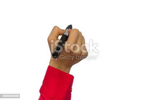 649719220 istock photo Hand holding marker isolated on white 638069688