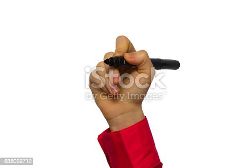 649719220 istock photo Hand holding marker isolated on white 638069712