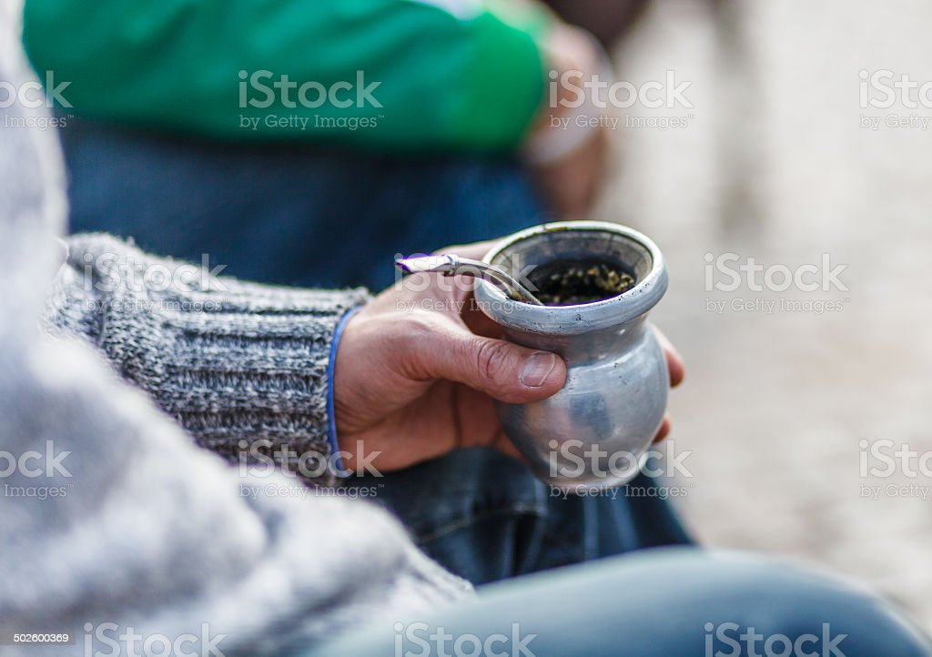 Hand Holding Mate in Argentina stock photo