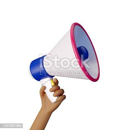 1192285342 istock photo Hand holding megaphone. 3d render 1247831952