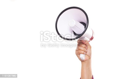 istock Hand Holding Megaphone Isolated on White Background 1151057982