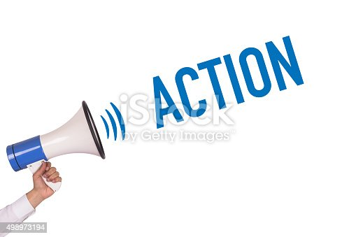 istock Hand Holding Megaphone with ACTION Announcement 498973194