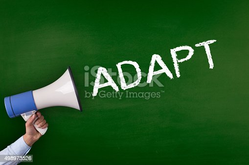 istock Hand Holding Megaphone with ADAPT Announcement 498973526