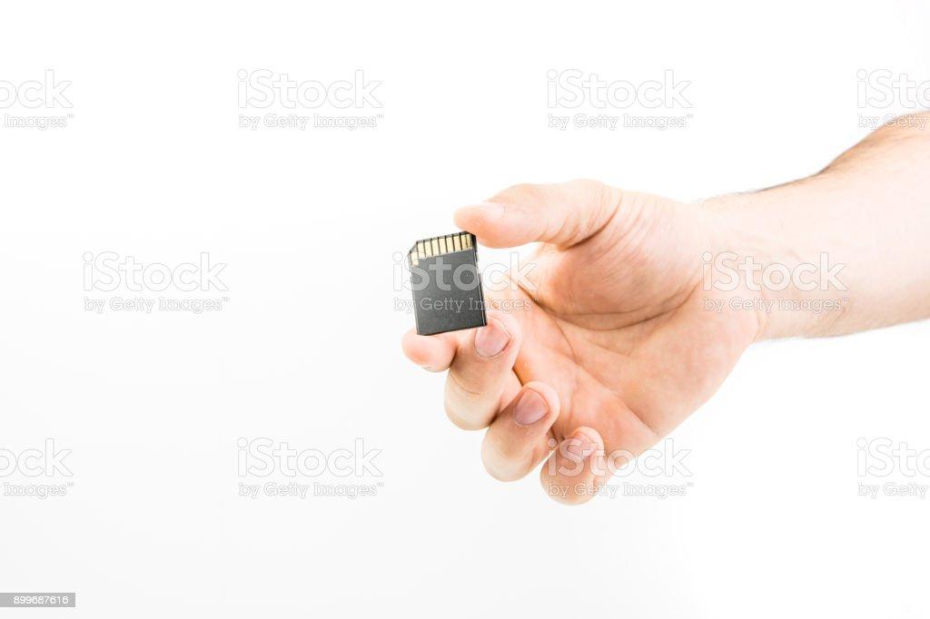 Hand Holding Memory Card stock photo