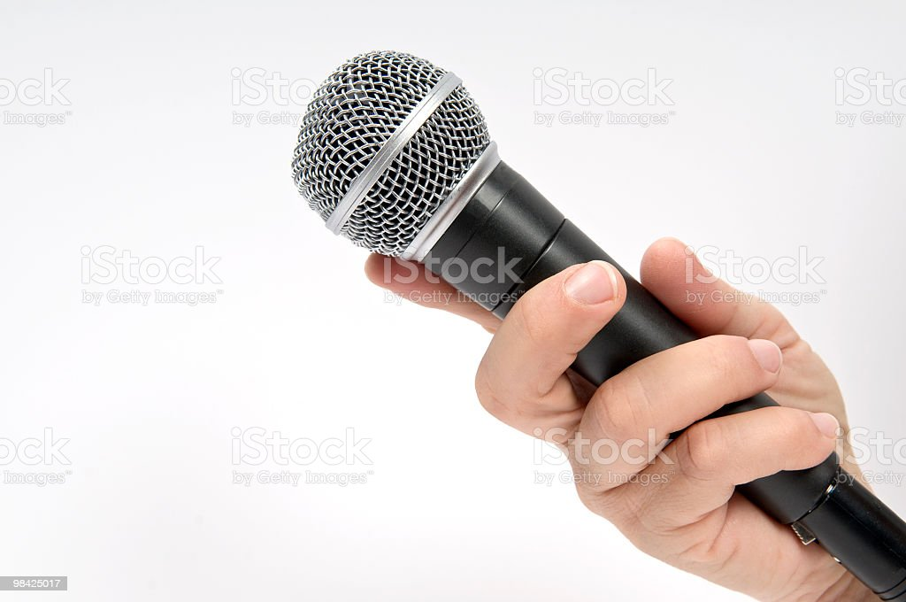 Hand Holding Microphone royalty-free stock photo
