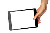 Holding white screen tablet computer against white background
