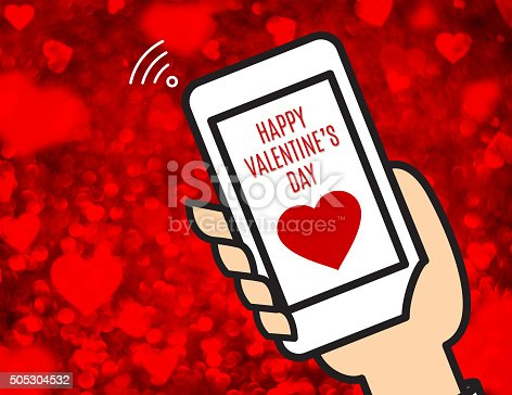 istock Hand holding mobile and Happy Valentine's day word 505304532