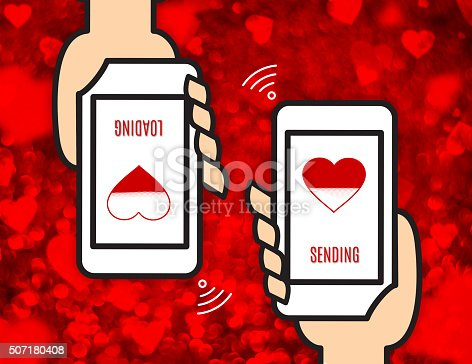 1125634019 istock photo Hand holding mobile and sending love view wireless network 507180408