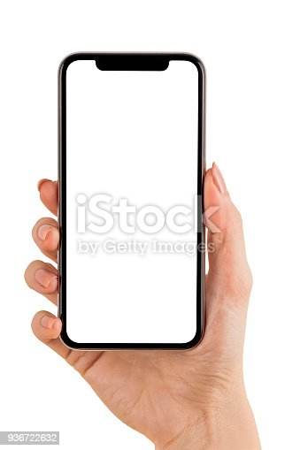 Hand Holding Mobile Phone on White