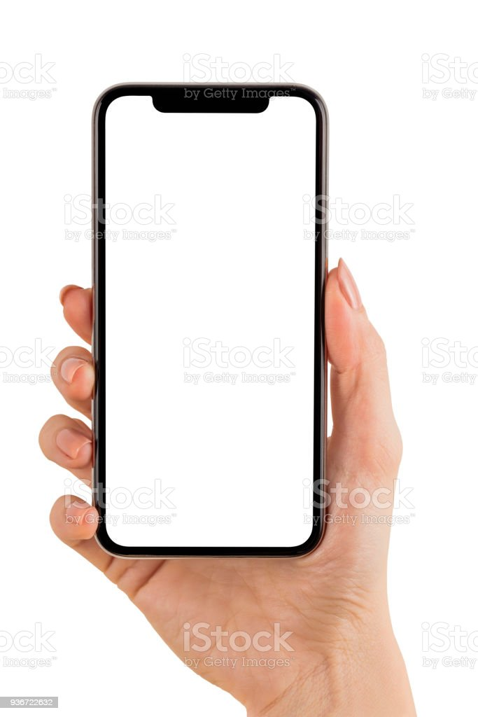 Hand Holding Mobile Phone on White stock photo