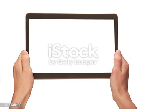 A hand holding a mobile phone with a blank screen isolated on a white background.