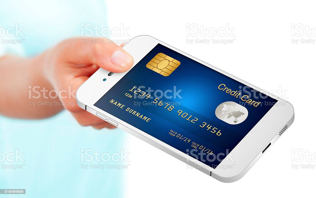 hand holding mobile phone with credit card isolated over white royalty-free stock photo