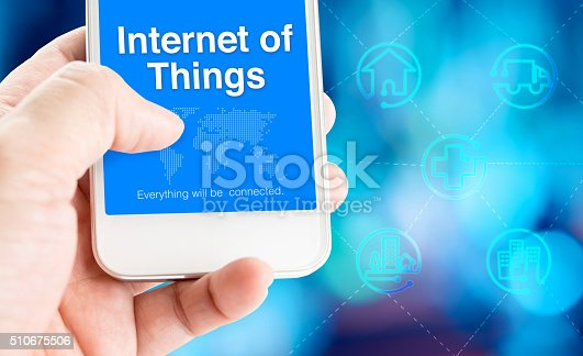 1155191162 istock photo Hand holding mobile phone with Internet of Things 510675506