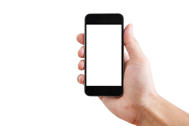 Hand holding Mobile smart phone blank white screen, isolated on white background. Clipping path included stock photo