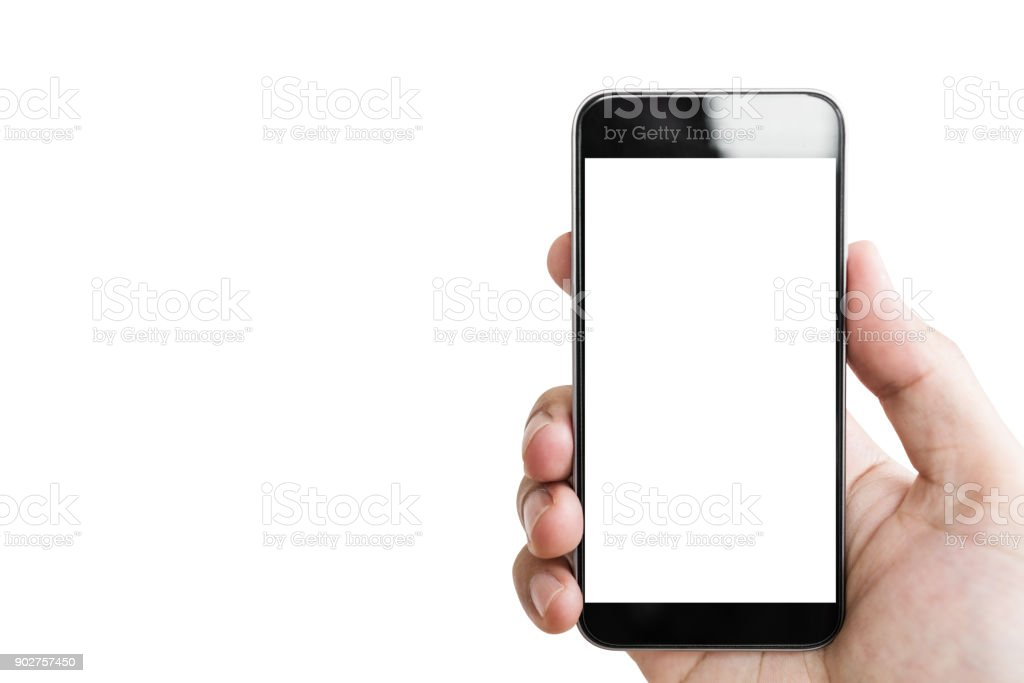 Hand holding mobile smart phone, blank white screen isolated on white background stock photo