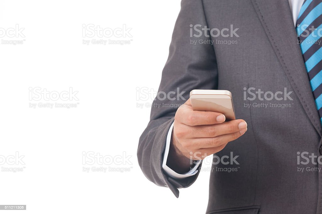 Hand holding Mobile Smart phone stock photo