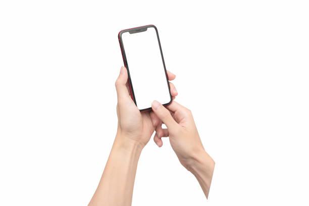 mão que prende o telefone esperto móvel com tela em branco. com caminho de recorte - mobile - fotografias e filmes do acervo
