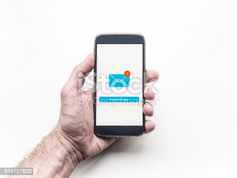 istock Hand holding mobile smart phone with message on a screen. 514727620