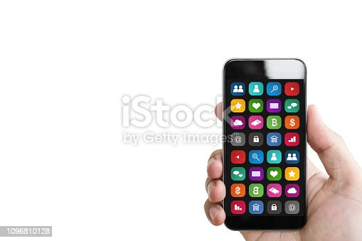 istock Hand holding mobile smart phone, with mobile app on screen, isolated on white background 1096810128