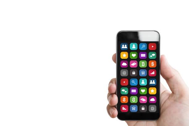 mão segurando o telefone inteligente móvel, com app móvel na tela, isolada no fundo branco - app - fotografias e filmes do acervo
