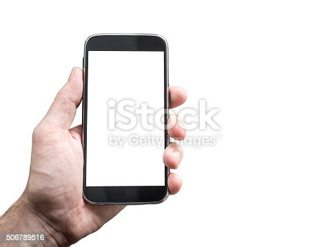 istock Hand holding mobile smartphone mockup with blank white screen 506789516