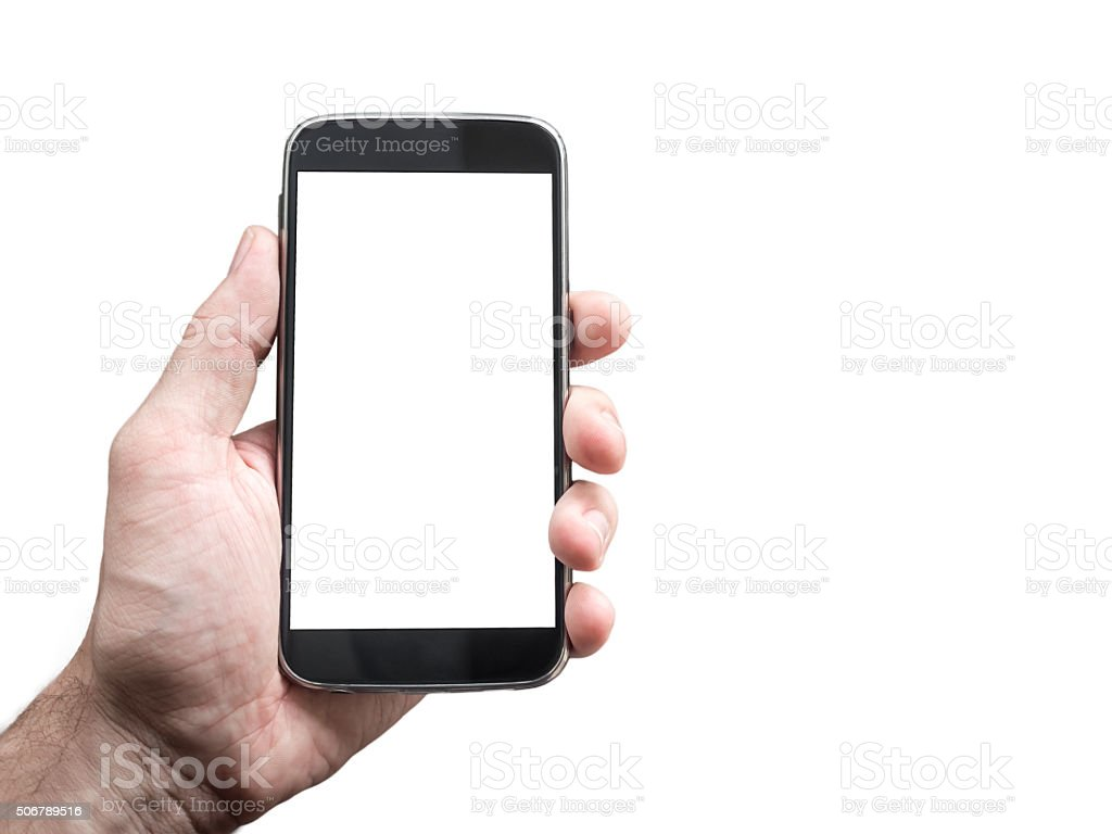 Hand holding mobile smartphone mockup with blank white screen stock photo