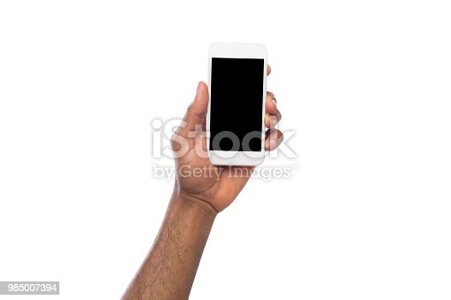 istock Hand holding mobile smartphone with blank screen 985007394