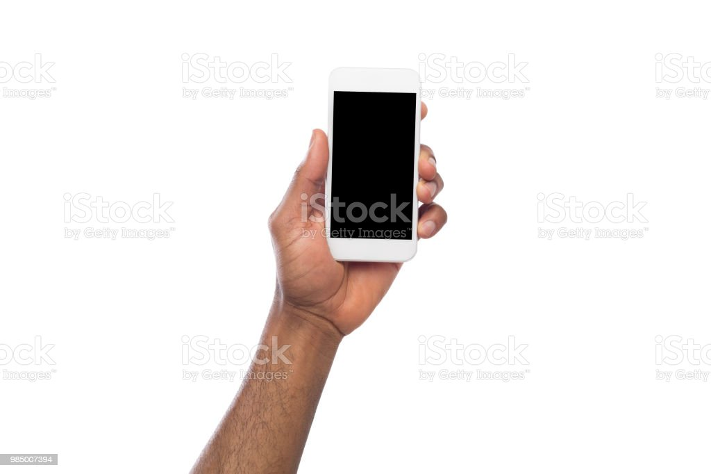 Hand holding mobile smartphone with blank screen stock photo
