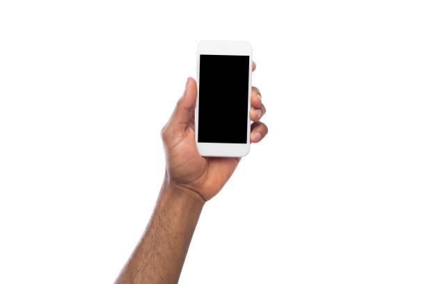 손을 잡고 빈 화면 모바일 스마트폰 - hand holding phone 뉴스 사진 이미지