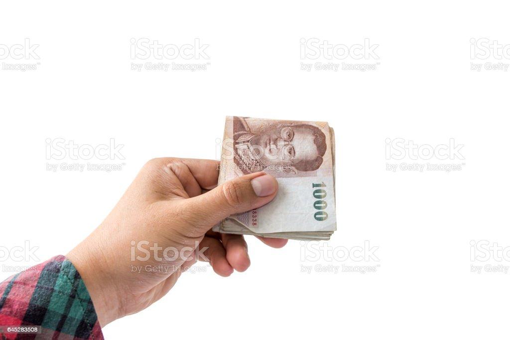 hand holding money isolated on white background stock photo