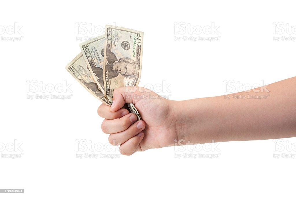 Hand holding money stock photo