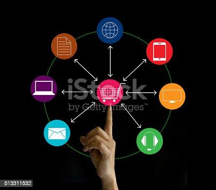 613550706 istock photo Hand holding network marketing connection, Omni Channel 513311532