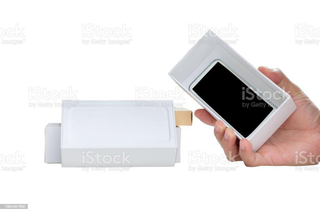hand holding new smart phone stock photo