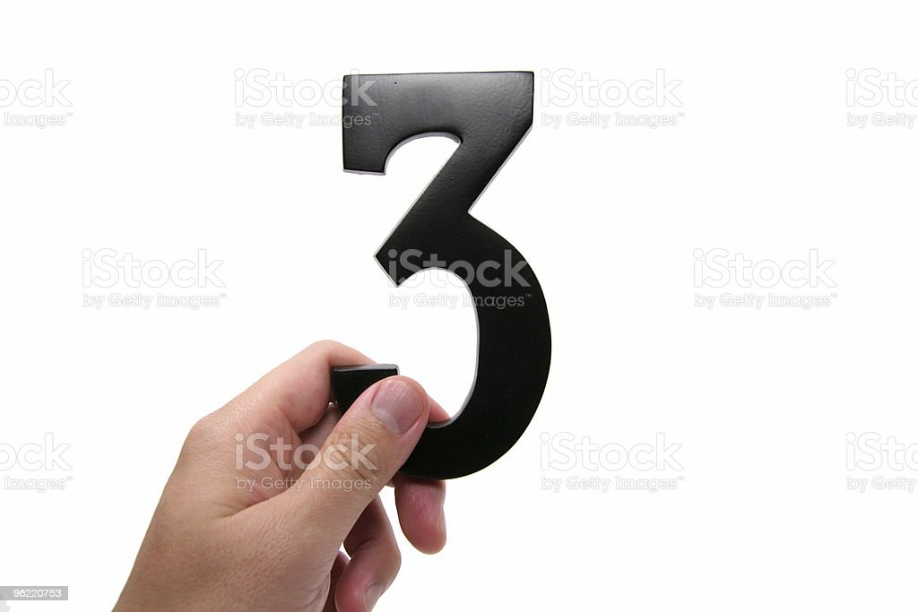 hand holding number 3 royalty-free stock photo