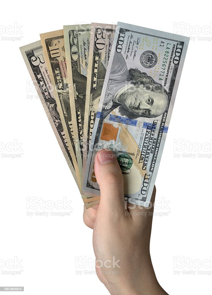 Hand holding of Dollar Bills. Isolated on white background stock photo