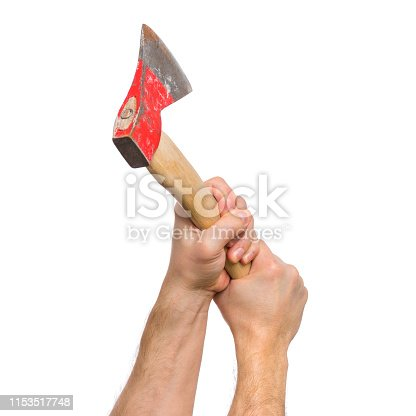 Axe with wooden handle. Close up view of Man Hands holding old Ax, isolated on white background.