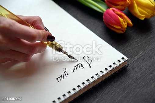 Hand holding old pen and writing  the words