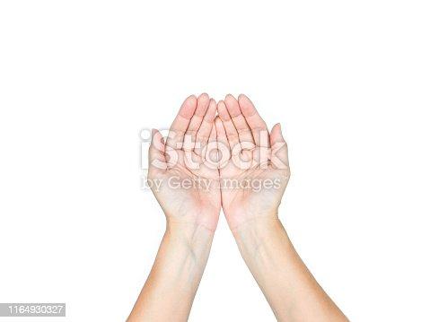 Hand holding on isolated white background.