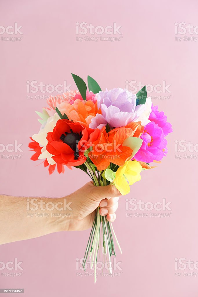 Hand Holding Paper Flowers Stock Photo Download Image Now Istock