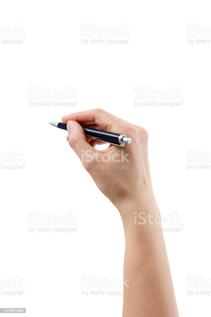 Hand holding pen – On white, isolated with clipping path stock photo