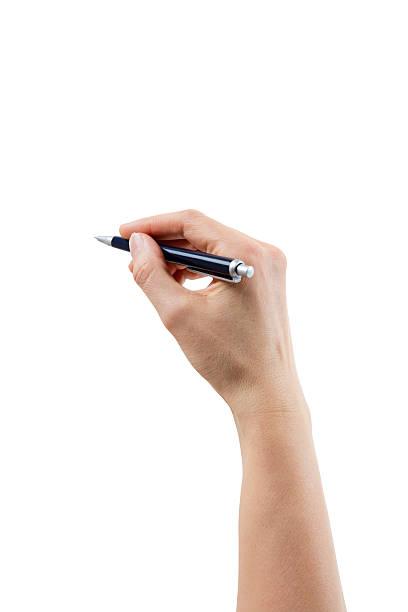 Hand und Stift, isoliert auf weiss Mit Ausschnitt Pfad – Foto