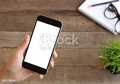 istock hand holding phone clean and easy adjustment on screen 524176254