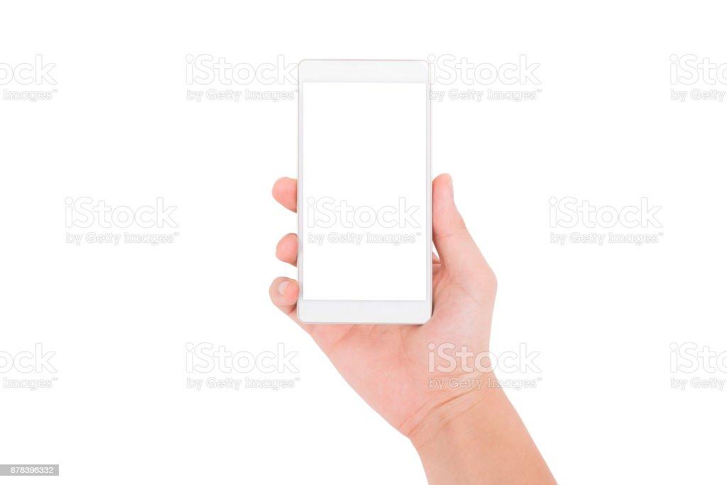 Hand hält Telefon isoliert auf weißem Hintergrund – Foto