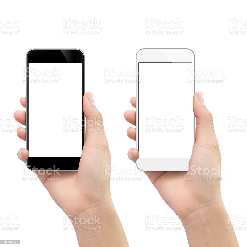 hand holding phone isolated on white clipping path inside stock photo