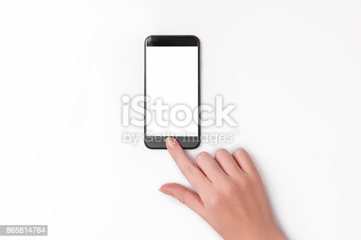 534217898istockphoto hand holding phone isolated on white clipping path inside 865814764