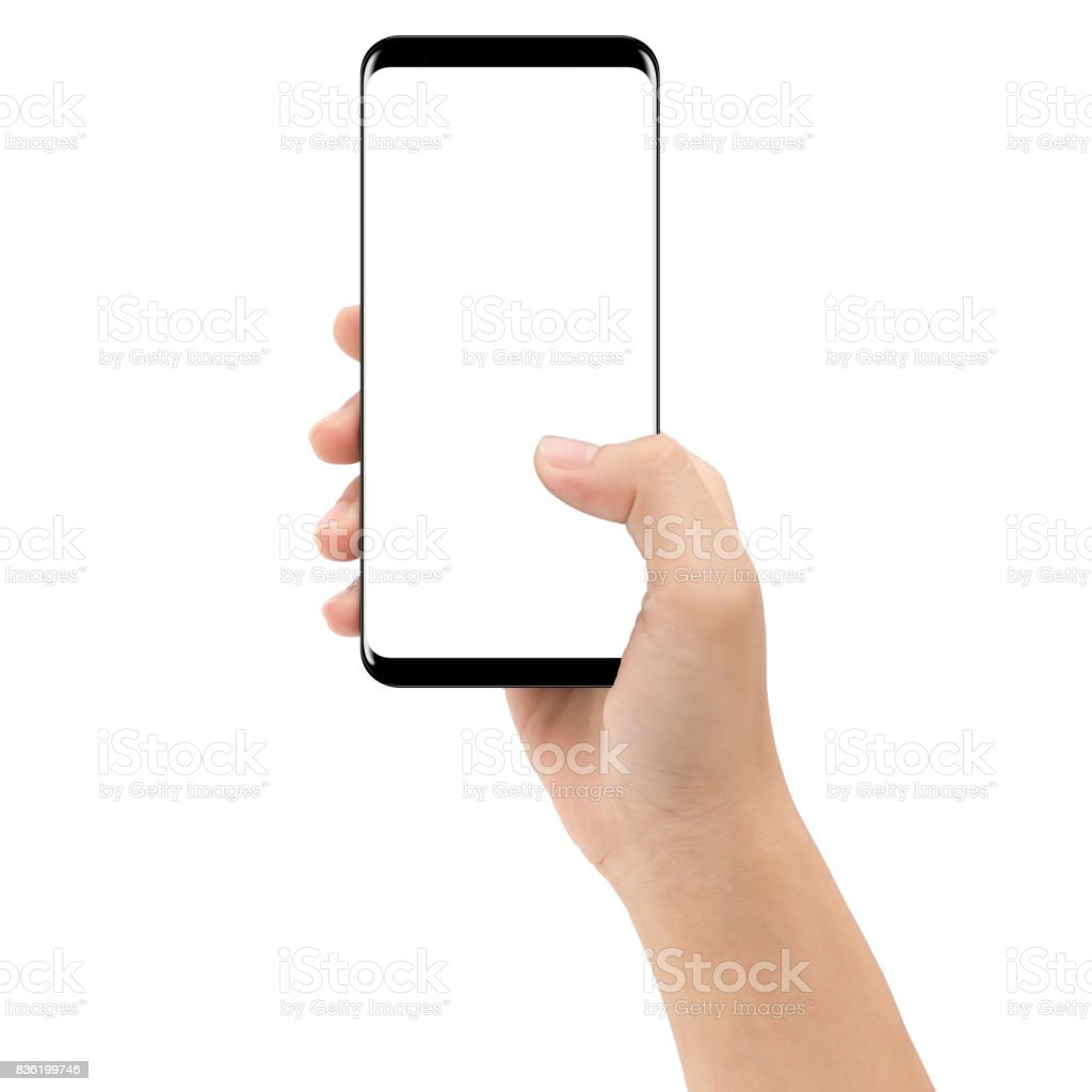 hand holding phone mobile isolated on white background clipping path inside royalty-free stock photo